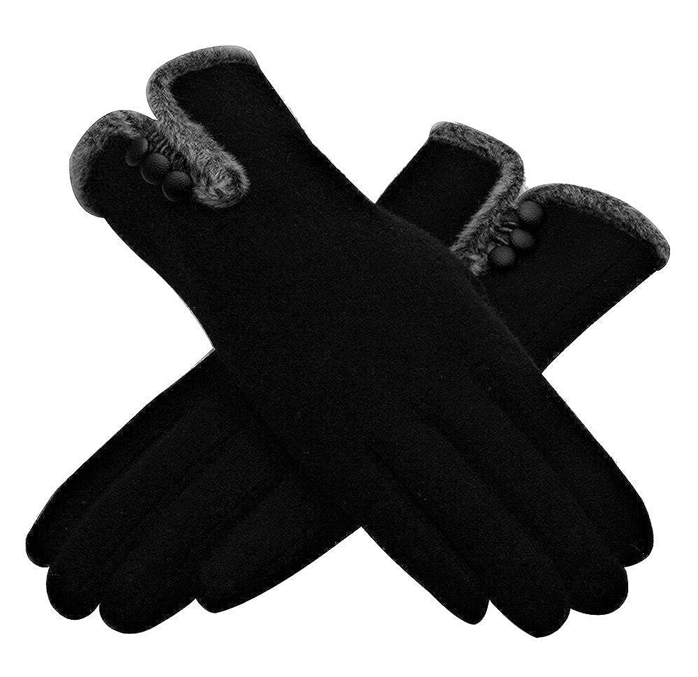 Guanti caldi invernali in lana da donna con bottoni Outray