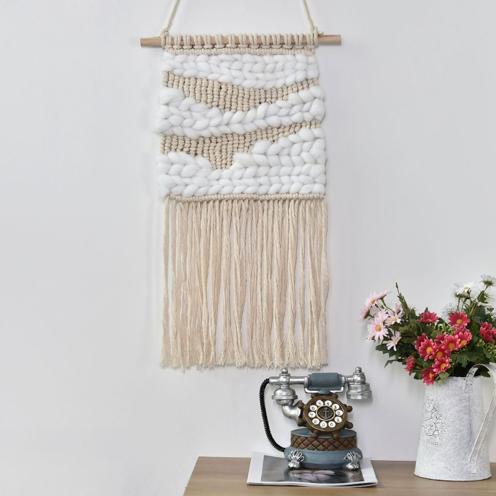 Macrame Wall Hanging,Sundlight Handmade Woven Wall Art Boho Home Decor Cotton Yarn with Wood Stick for Kids Room Living Room,35.5cm x 58cm
