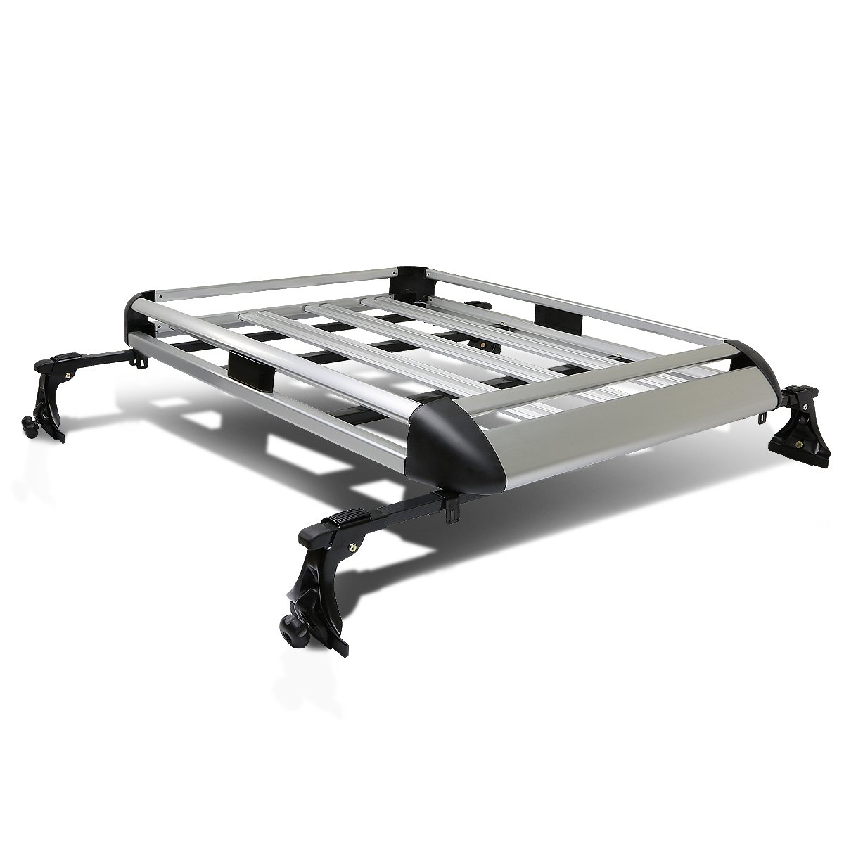50' x 38' Aluminum Roof Rack Top Cargo Carrier Basket+Cross Bar (Silver) Auto Dynasty