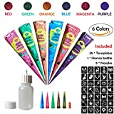 COKOHAPPY Temporary Tattoo Kit, 6 Color Paste Cone Body Art Painting Drawing with 35 x adhesive Stencil, 1 x Applicator Bottle and 5 x Plastic Nozzle