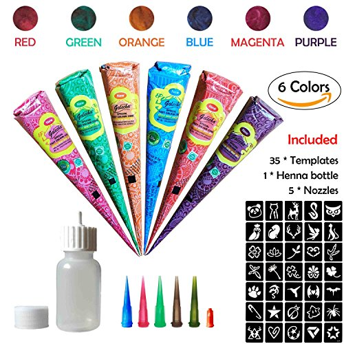 COKOHAPPY Temporary Tattoo Kit, 6 Color Paste Cone Body Art Painting Drawing with 35 x adhesive Stencil, 1 x Applicator Bottle and 5 x Plastic Nozzle by COKOHAPPY