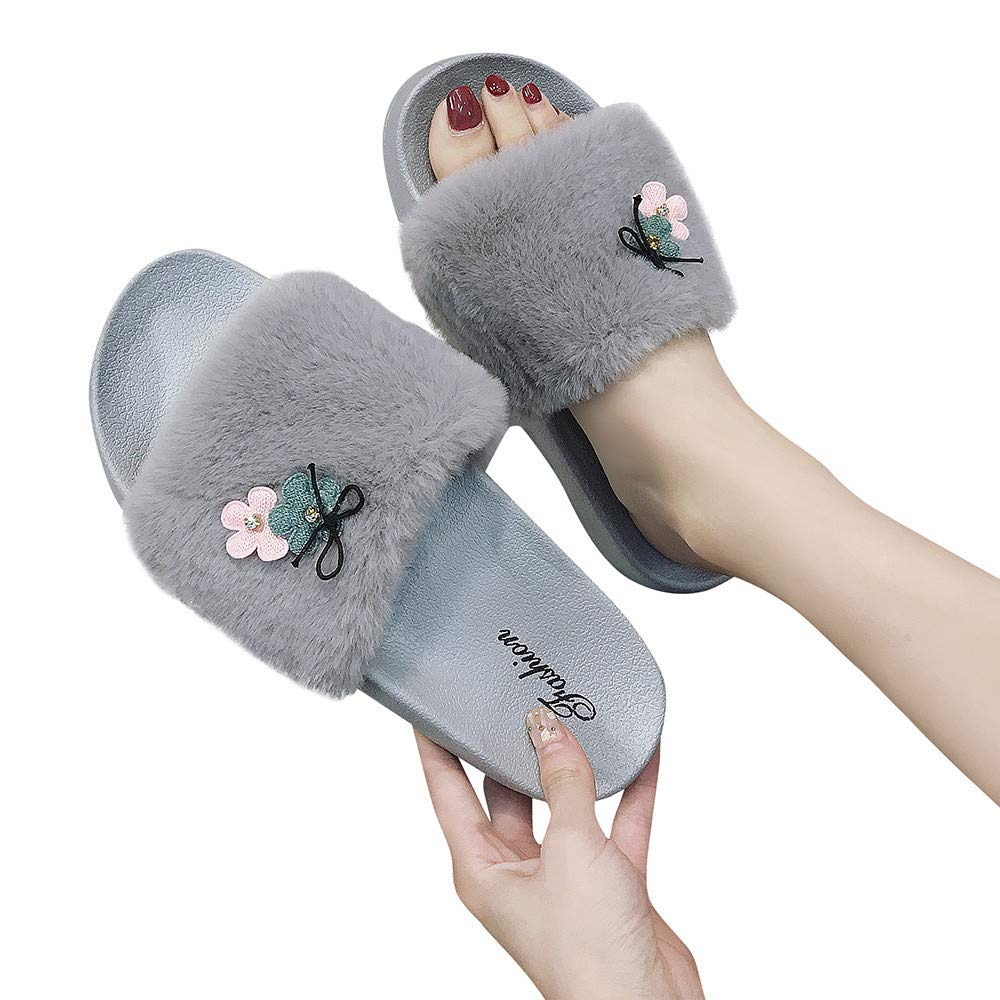 Slippers For Women, Clearance Sale !! Farjing Slip On Sliders Fluffy Faux Fur Flat Slippers Flip Flop Sandals(US:7.5,Gray1)