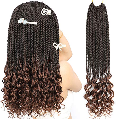 Box Braids Crochet Braids Hair Curly Ends Synthetic Crochet Braiding Braids Hair 18Inch 7Packs/lot(T1B/30#)
