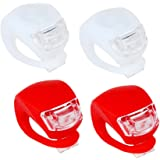 Honearn LED Clip On Lights Set Silicone Red & White 4 pcs