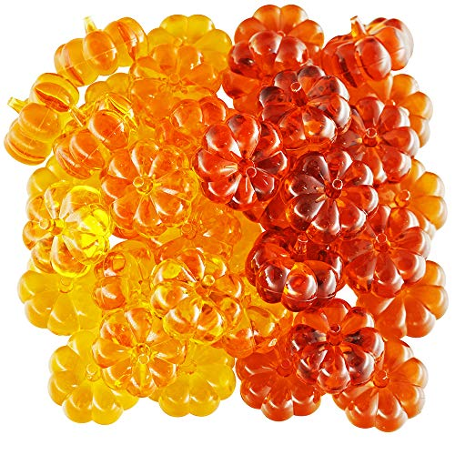 60 Pcs Mini Acrylic Pumpkin Embellishments Fall Decorations Vase Fillers Table Scatter Acrylic Display Ornaments Bowl Filler Fall, Autumn and Thanksgiving Décor]()