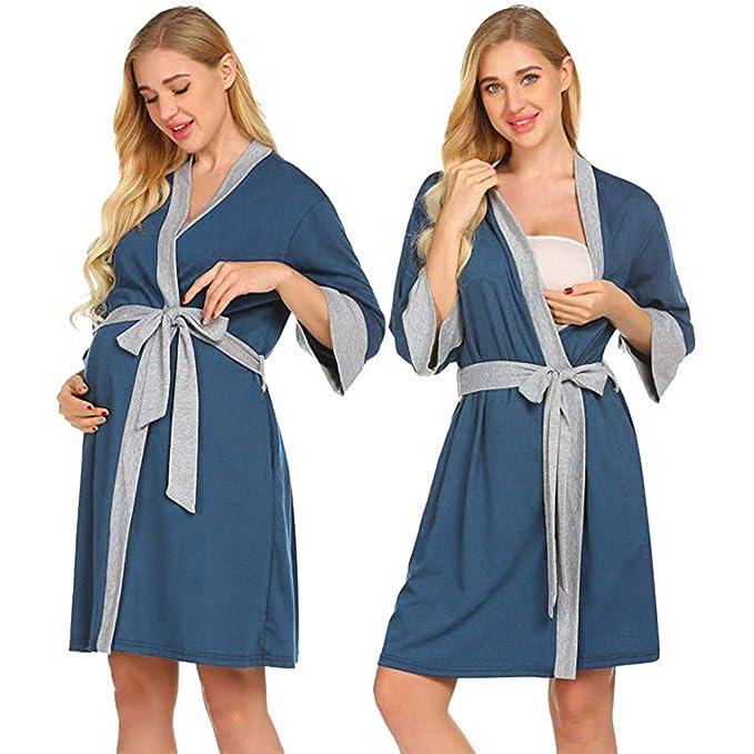 OHQ Bata De Maternidad Entrega De Batas Camisones Vestido De Lactancia Maternidad De Noche CamisóN Mujeres Embarazadas Ropa De Dormir Premamá Pijama: ...