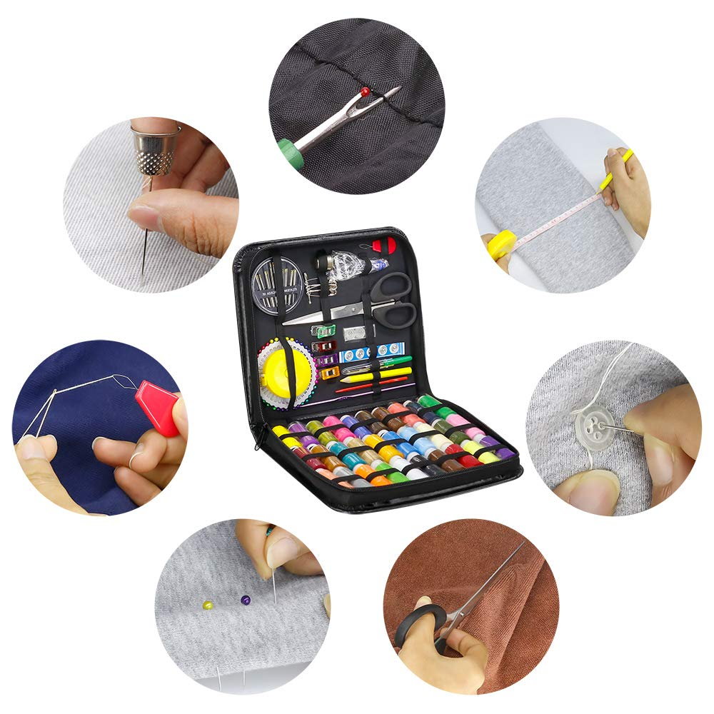 STURME Sewing Kits 126pcs Premium Sewing Tool Kit with PU Case 30 XL Thread Spools Perfect for Home Travel and Emergency Use