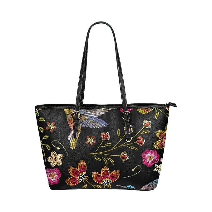 b9460f181 Bordado Colibrí con flores gloriosas Bolsas mano grandes y cuero suave y  portátil Asas mano Bolsos