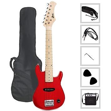 winzz Mini guitarra eléctrica para niños (con funda, cable, correa, púas de 2, amplificador y llave: Amazon.es: Instrumentos musicales