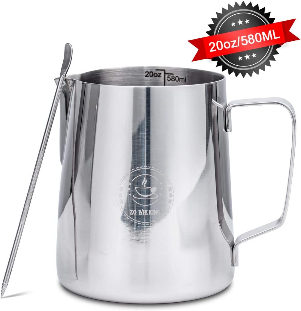 20oz 580ml Stainless Steel Milk Frothing Pitcher with Latte Art Pen, Coffee Pitcher for Espresso Machines Latte Art