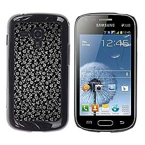 Caucho caso de Shell duro de la cubierta de accesorios de protección BY RAYDREAMMM - Samsung Galaxy S Duos S7562 - Flowers Grey Wallpaper Black Garden