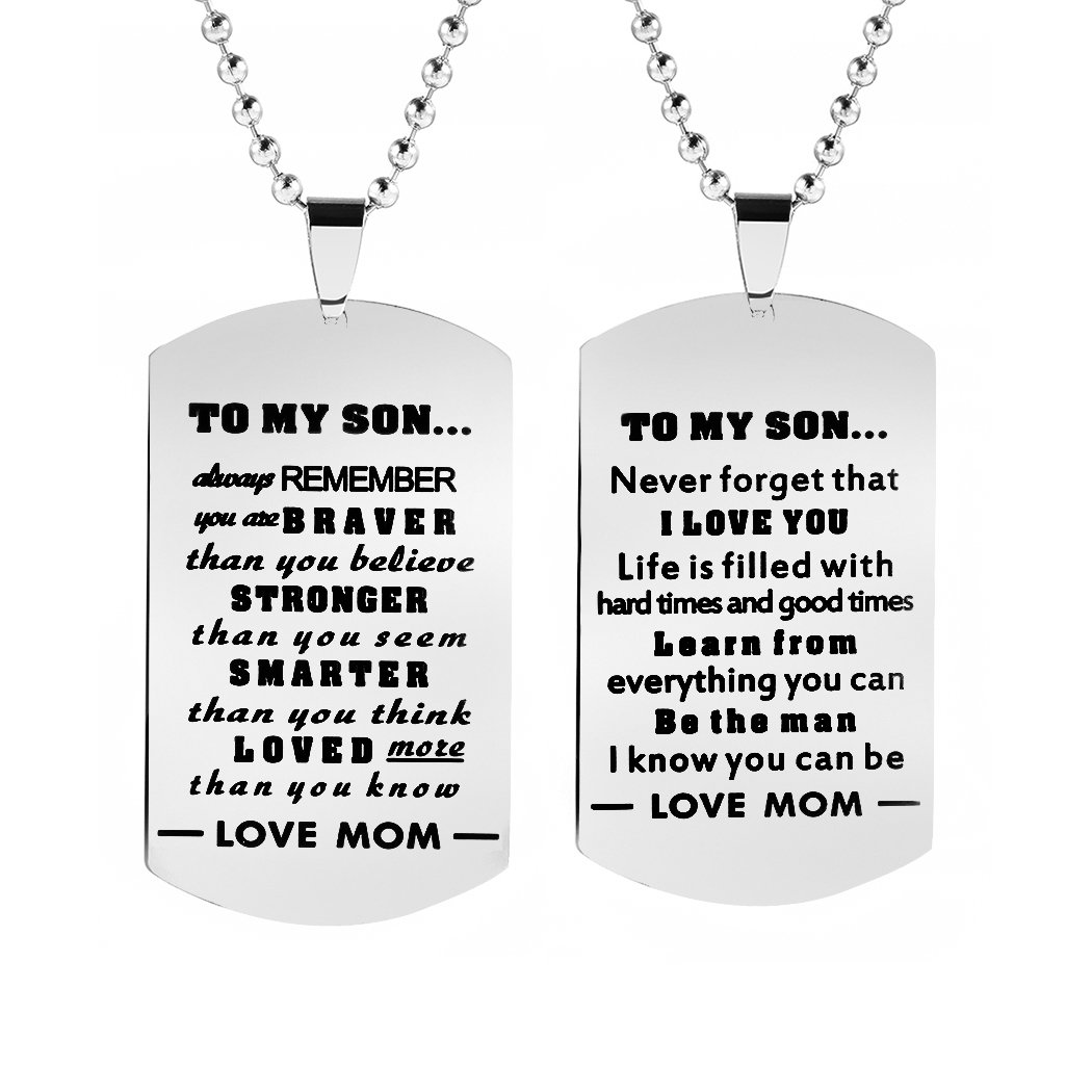 Meibai 2Pcs Dad Mom To Son Dog Tags Pendant Necklace Inspirational Gift for Boy (Mom to Son)