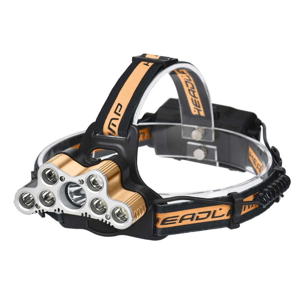 Leegor 40000 Lumens 7 Lights Zoomable LED Headlamp Rechargeable Headlight Travel Head Torch Adjustable Waterproofing Head Light (Battery Not Included)
