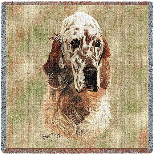 Pure Country Weavers - English Setter Woven Throw Blanket with Fringe Cotton. USA Size 54x54