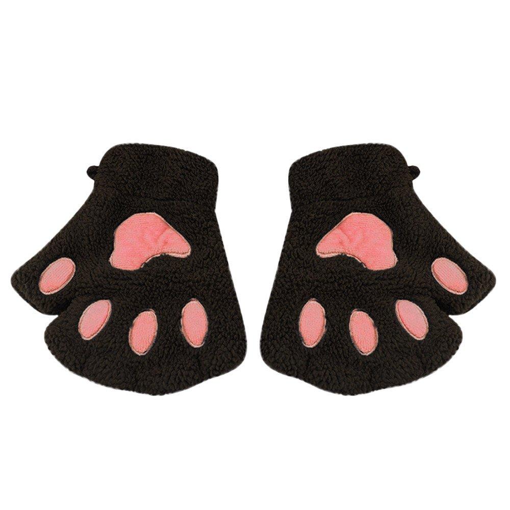 Little Kids Winter Gloves, Jchen(TM) Baby Kids Boys Girls Cute Cat Paw Fingerless Hand Winter Warmer Gloves
