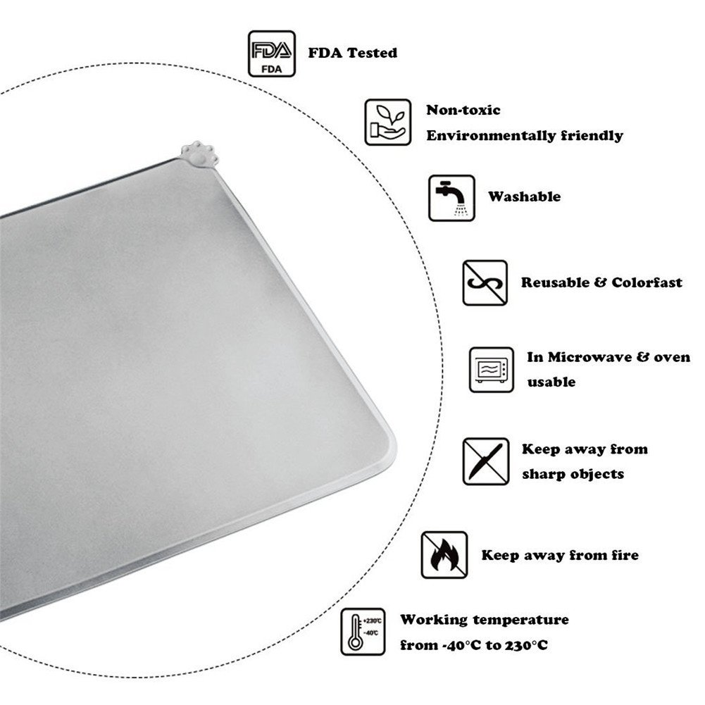 H&Zt Dog Food Mat, Silicone Pet Feeding Mats, Non Slip Waterproof Cat Bowl Trays Food Container Placemat for Small Animals (Grey) by H&Zt (Image #5)