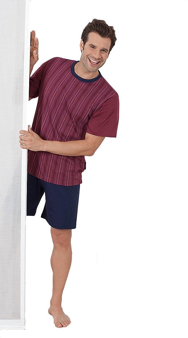 Kurzer Schlafanzug, Herren Pyjama, Shorty, gestreiftes Oberteil, kurze  unifarbige Hose, Grösse 46/48 bis 58/60: Amazon.de: Bekleidung