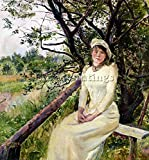 CHRISTIAN KROHG UNG KVINNE PA EN BENK YOUNG WOMAN BENCH ARTIST PAINTING CANVAS 32x32inch MUSEUM QUALITY