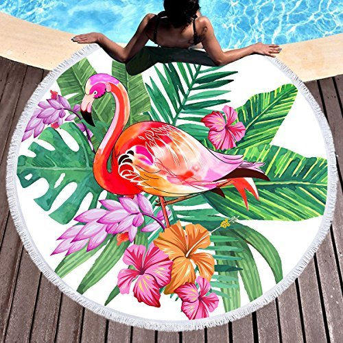 Sleepwish Tropical Floral Flamingo Round Beach Towel Terry Beach Roundie Blanket with Fringe Large Circle Yoga Mat (Green Palm Trees, 60) 60) Youhao SBT012313121