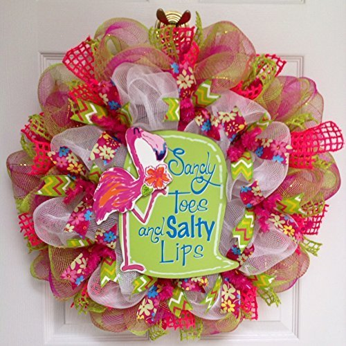 Sandy Toes and Salty Lips Pink Flamingo Summer Beach Handmade Deco Mesh Wreath