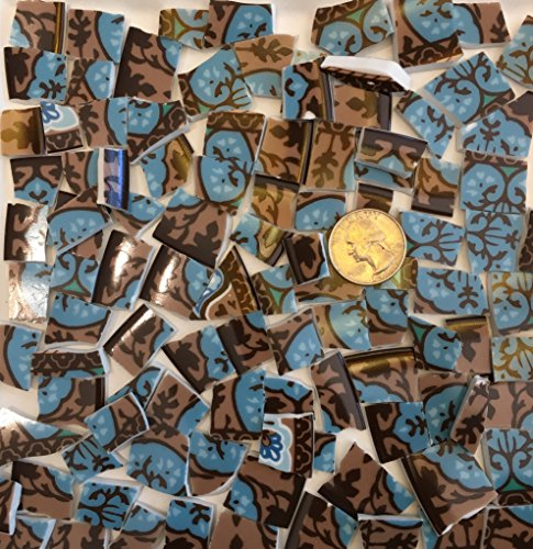 Mosaic Tile Art Supply for Mosaics & Crafts ~ Blue & Brown Fine China Tiles (T#660) by J Pepper's Art By Hand