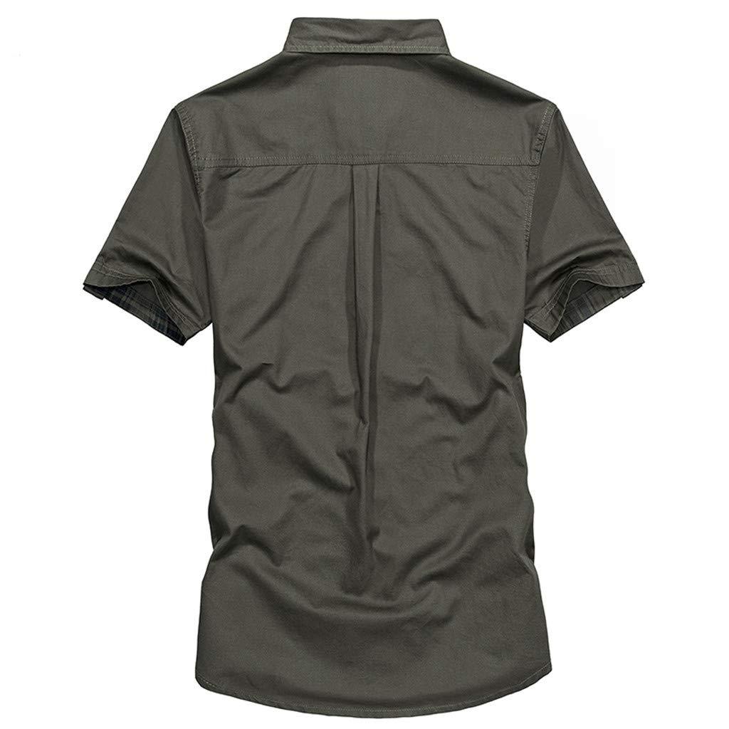 ZODOF Verano Camiseta para Hombre Blusa de Manga Corta de la Camiseta de Manga Corta de Bolsillo de Color Puro Militar de los Hombres Personalidad Casual Camisas