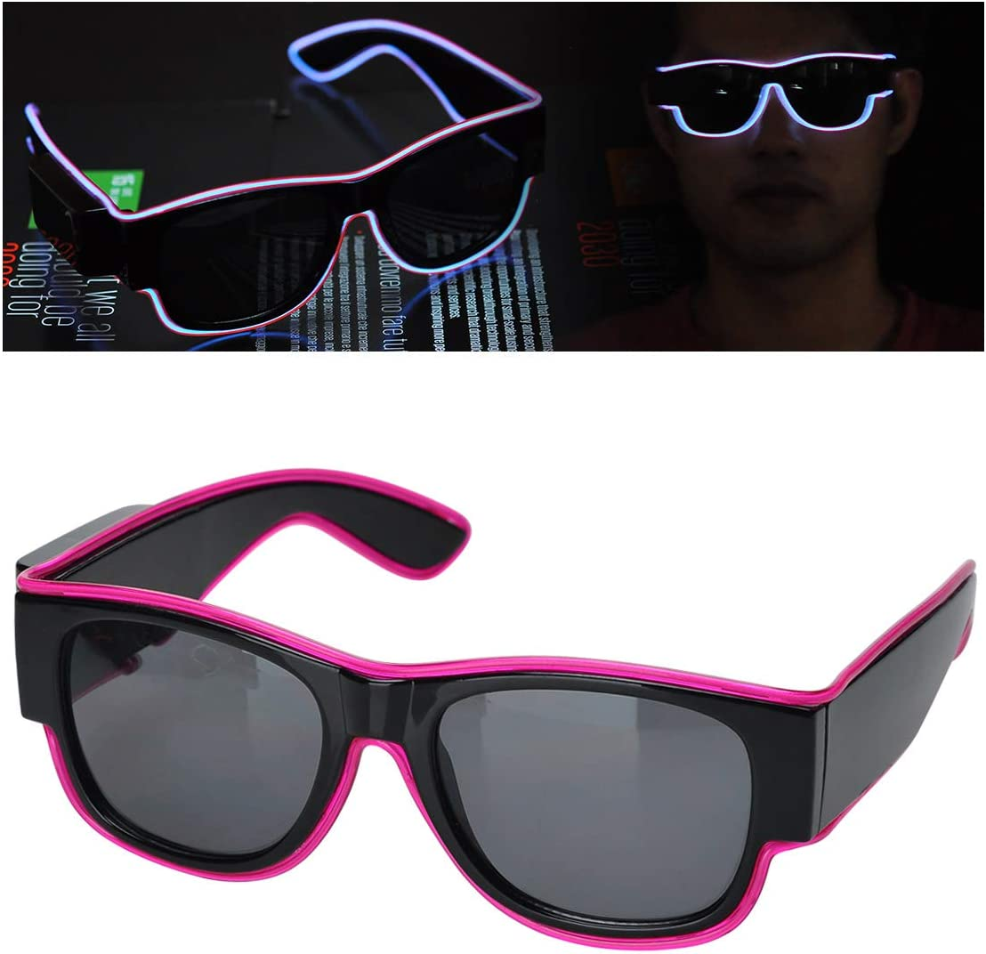 Blue Podazz Luminous LED Glasses EL Wire Light Up Fashion Neon Cold Light Sunglasses for Dancing Party Bar Meeting Glowing Rave Costume Atmosphere Activing DJ Bright Props
