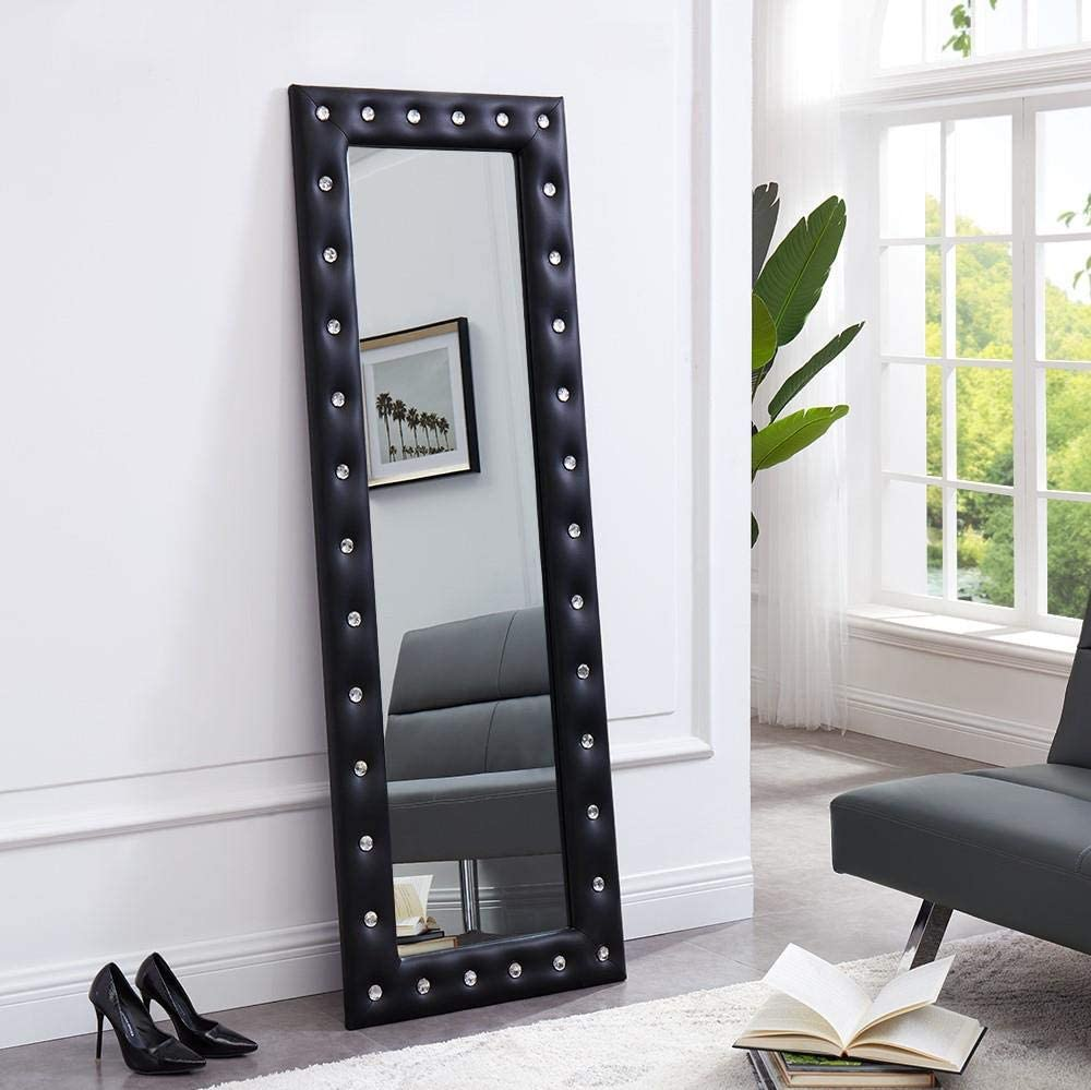 Naomi Home Crystal Tufted Mirror Black