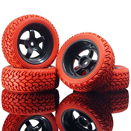 RC 6030-8019 Red Rally Tires & Wheel Rims 4P For HSP 1:10 On-Road Rally Car (Rally Rc Game)