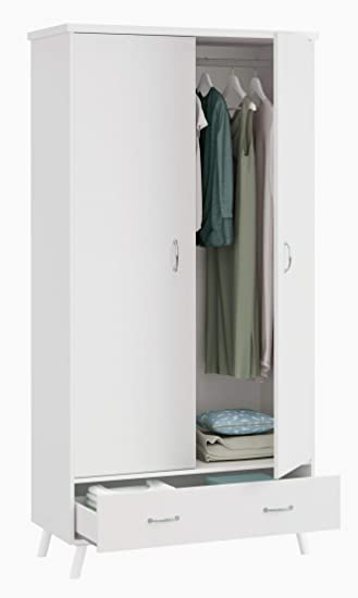 Pitarch Armario Blanco Dormitorio Tina Vintage habitacion Juvenil Clasico Pata Blanca 100x51x199: Amazon.es: Hogar