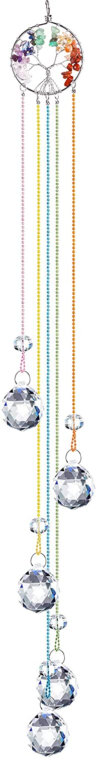 Crystal Window Hanging Ornament Crystal Ball Prism Suncatcher Chakra Crystal Pendant Life Tree Ornament Glass Pendant Hanging Ornament for Home Garden Decoration