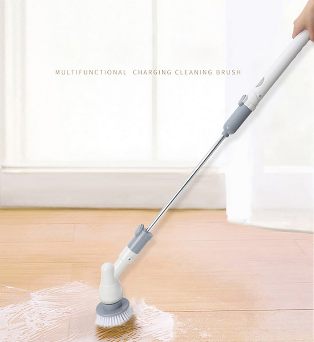 QJSZ Rechargeable Cordless Turbo Scrubber Brush With Extension Handle Tub And Tile Scrubber For Bathroom Floor Tiled Wall And Bathtub by QJSZ