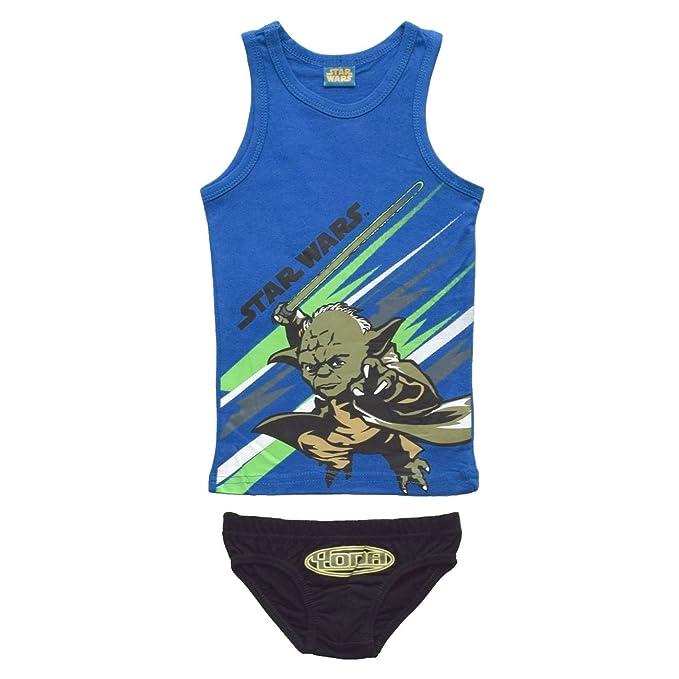 Conjunto camiseta y Slip ropa interior para niño, diseño de Star Wars Azul azul