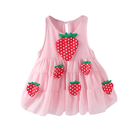 c32594804a34 Amazon.com: BSGSH Summer Kids Clothes Baby Girls Strawberry Sleeveless  Princess Swing Dress: Clothing
