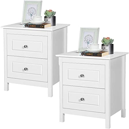 Yaheetech Set of x 2 White Bedside Table Nightstand with 2 Drawers and Iron Legs for Bedroom Living Room 50x40x57cm