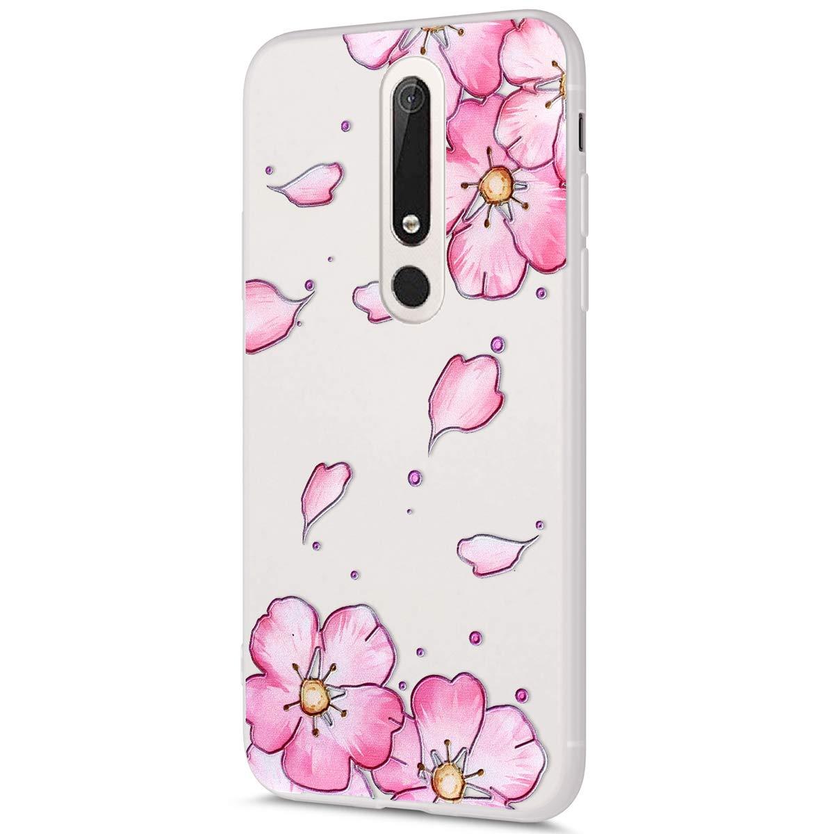MoreChioce kompatibel mit Nokia 6.1 2018 H/ülle,kompatibel Nokia 6.1 2018 Transparent H/ülle,Kreativ Muster M/ädchen Sto/ßfest Handyh/ülle Kristall TPU Flexible Gel Bumper