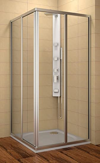 Cabina de ducha 80 x 80 cm, ducha de esquina 80 x 80 x 185 cm (LxBxH), ducha esquina. 80 x 80 cm, 4 piezas), vidrio templado de 4 mm, puertas correderas: Amazon.es: Bricolaje y herramientas