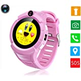 "Children Smart Watch with GPS/GSM/WiFi Triple Mode Positioning 1.22"" Touch Screen Camera SOS Call Anti-lost Location Finder Fitness Tracker Parent Control Outdoor Birthday Gifts for Boy Girl (Pink)"