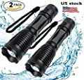 Tactical Flashlight 2 Pack - Tac Light Torch Flashlight - As Seen on TV XML T6 - Brightest LED Flashlight with 5 Modes - Adjustable Waterproof Flashlight for Biking Camping