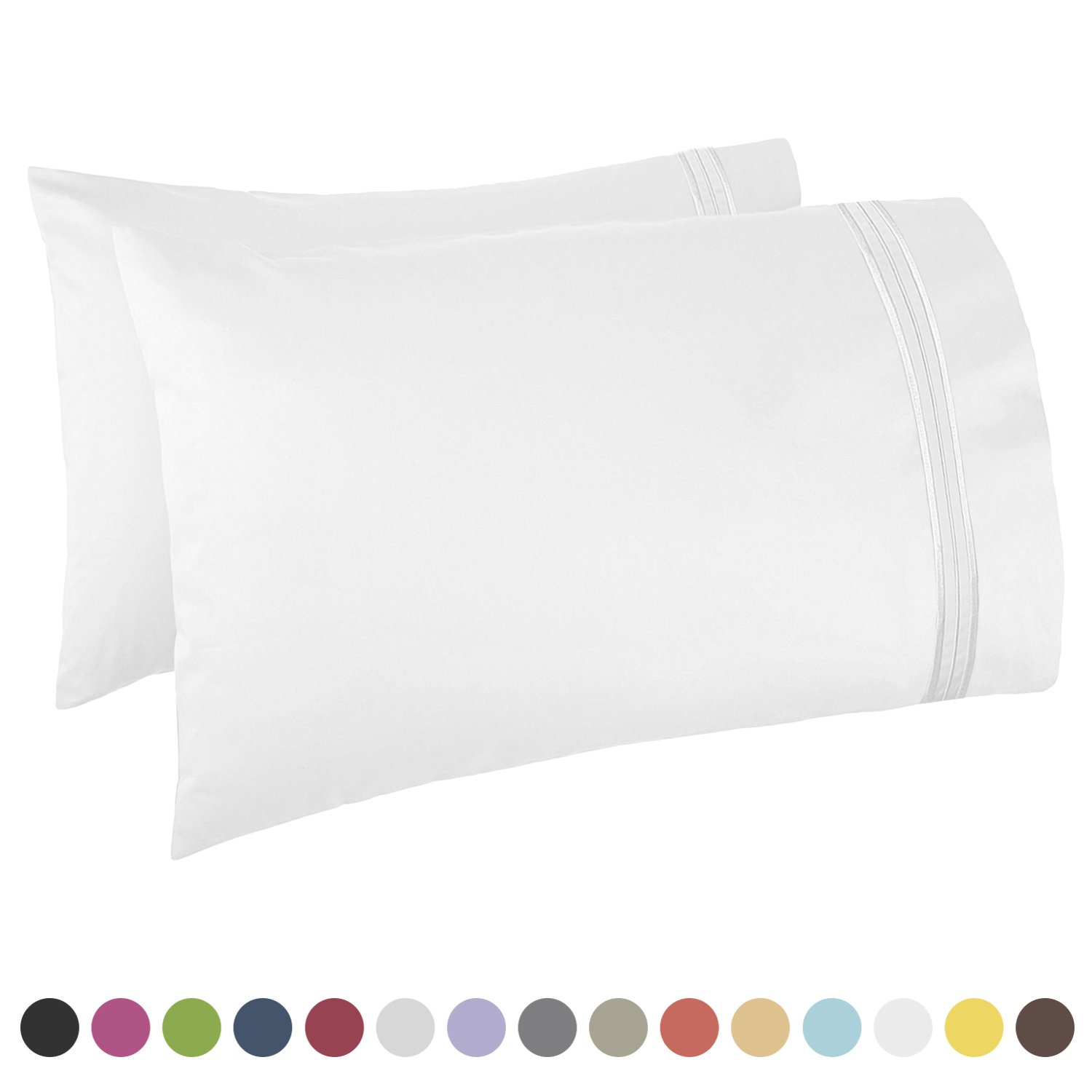 Nestl Bedding Premier 1800 Pillowcase - 100% Luxury Soft Microfiber Pillow Case Sleep Covers - Hypoallergenic Sleeping Encasements - Queen Standard Size (20''x30''), White, Set of 2 Pieces