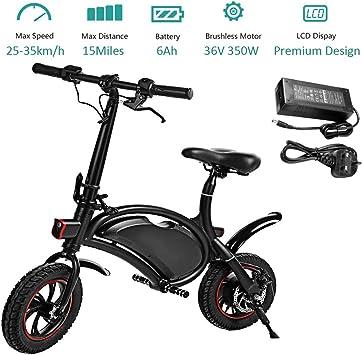 Amazon.com: Bicicleta eléctrica plegable de 350 W con ...