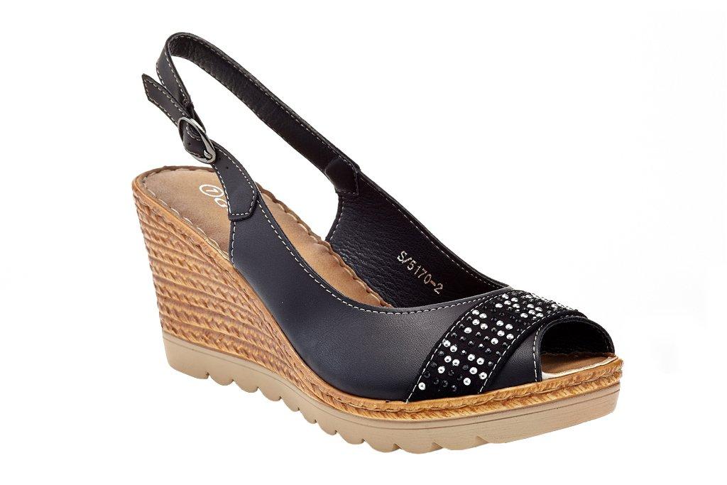 Lady Godiva Women's Open Toe Wedge Sandals Multiple Styles B079YX32VC 8 B(M) US|Black - 5170