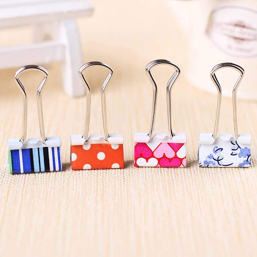 Small Bulldog Binder Clips Colored, Coideal 24 Pack 3/4 Inch Assorted Paper Clip Metal Food Bags Seal Clamp Wire Holder with Cute Lovely Pattern for Picture Photo,Home Kitchen Office Supplies (19mm)