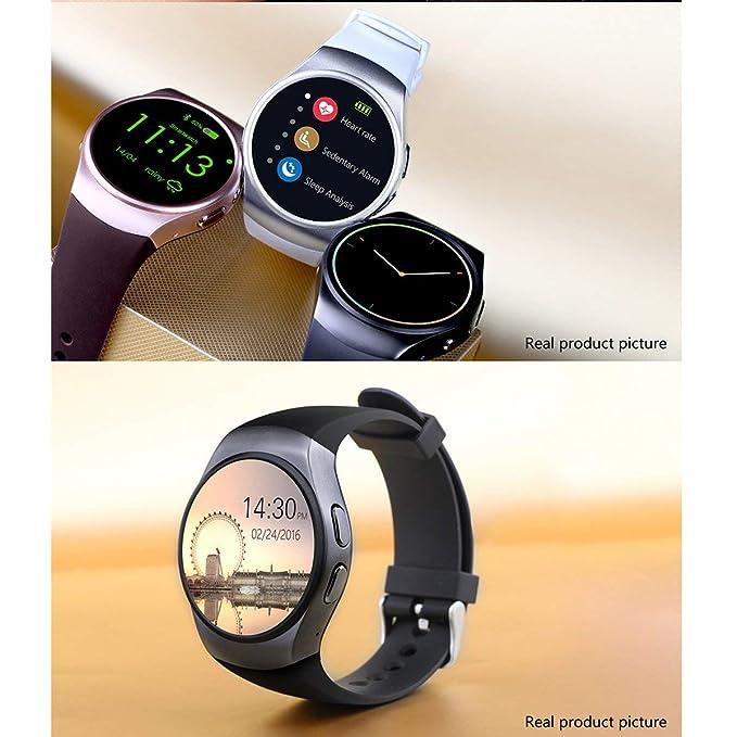 Teléfono con Bluetooth Smart Watch KING-WEAR KW18 Tarjeta SIM con TF SmartWatch con frecuencia cardíaca (Color: negro): Amazon.es: Deportes y aire libre