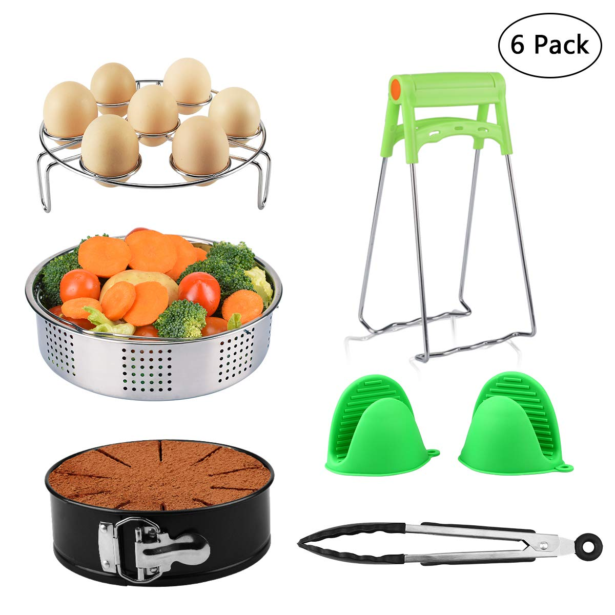 Instant Pot Accessories Set Fits 5, 6, 8 Qt Instant Pot Pressure Cooker with Steamer Basket, Egg Steamer Rack, Non-stick Springform Pan, 1 Pair Oven Mitts, Kitchen Tongs 6 Pieces Libay