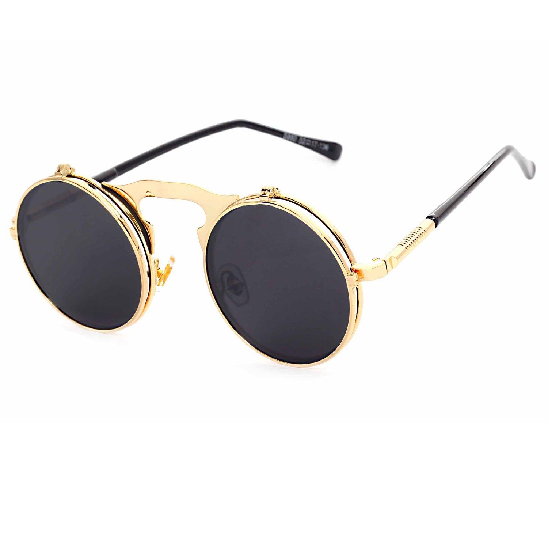 e1bf765e01 Gothic Steam Punk Flip-Up Round Mirror Lens Metal Frame Sunglasses Goggles  For Mens Womens  Amazon.com.au  Fashion