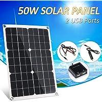Lilideni DC 5V / DC 18V 50W Panel Solar de Doble Salida con 2 Interfaz USB Cargador de Coche IP65 Resistencia al Agua…