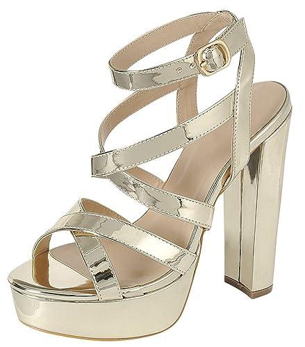 c4dd6a19 Cambridge Select Women's Crisscross Ankle Strappy Peep Toe Platform Chunky  Wrapped High Heel Dress Sandal Gold