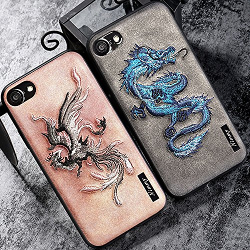 MayAi Couple Matching iPhone 7 Case Blue Dragon Embroidered Gel Case, iPhone 6s Case Silicone, Leather Resistant Back Cover, Protective Flexible TPU Case for iPhone 6 -