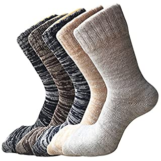 Womens Thick Knit Warm Casual Wool Crew Winter Socks, Size 5 to 10 Mixed Color 2(5 Pack) One Size
